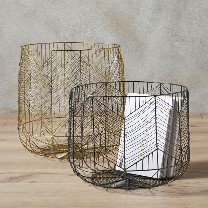 blanche large gold metal basket