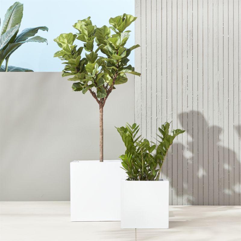 blox large square galvanized hi-gloss white planter