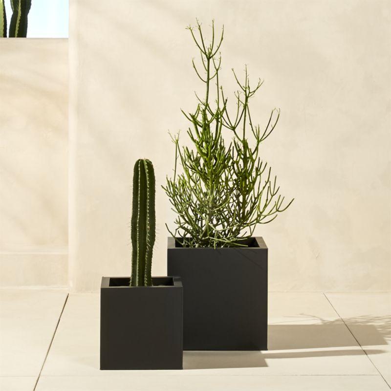 blox medium square galvanized charcoal planter
