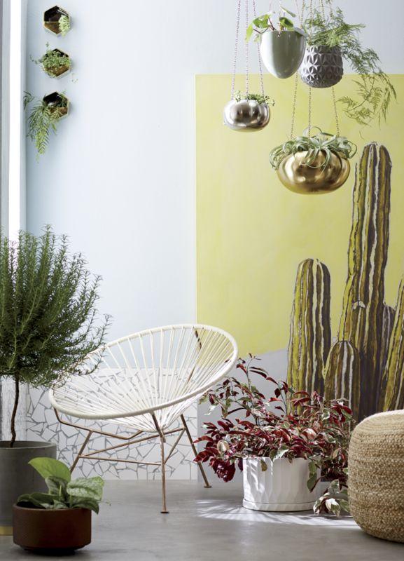 raj gold hanging planter