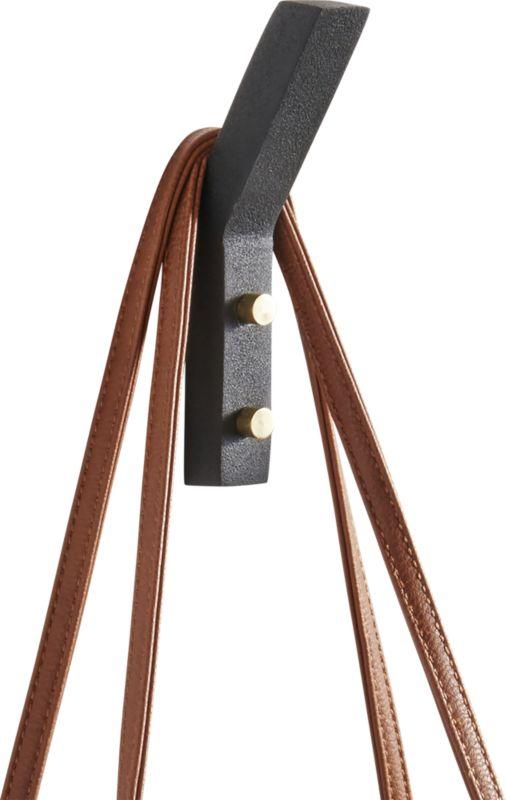 leaning edge matte black wall hook