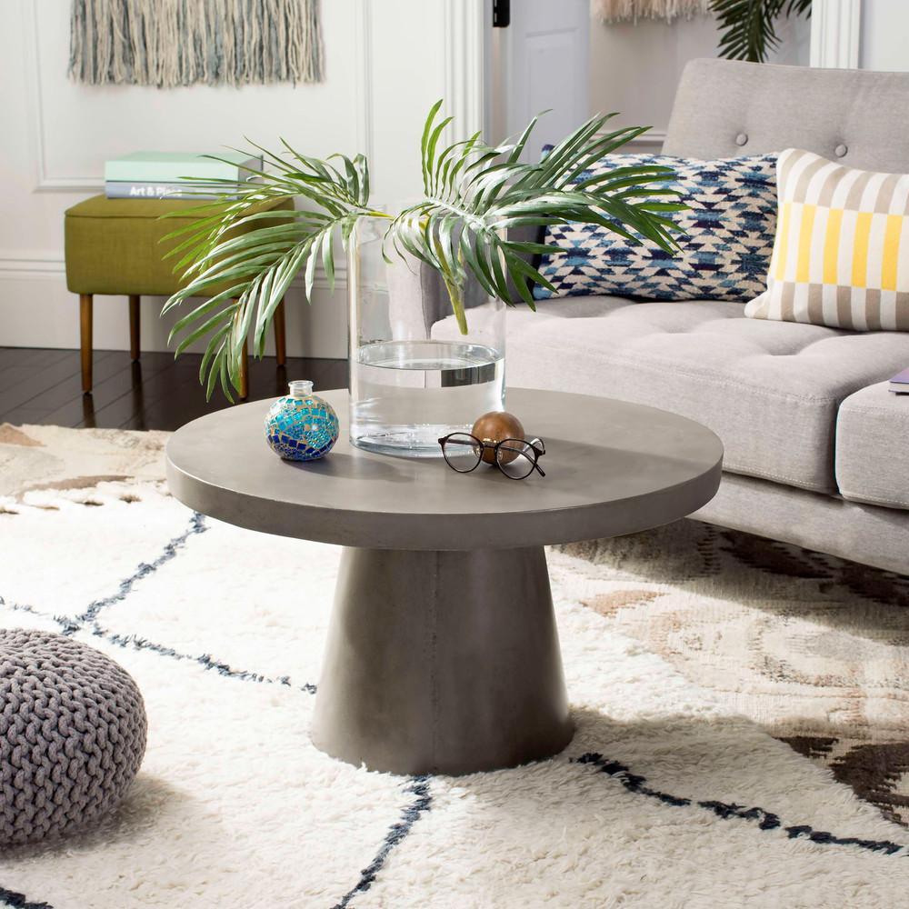 Delfia Modern Concrete Round Coffee Table