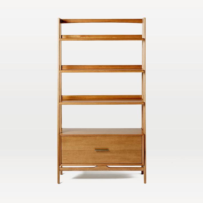 """Mid-Century 38"""" Bookshelf w/ Drawer - Acorn"""