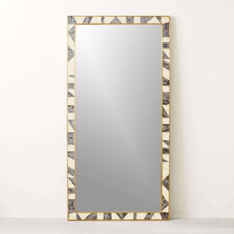 "Grace Bone Inlay Floor Mirror 36"" x 72"""