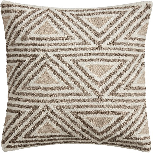 "18"" tula triangle pattern pillow with down-alternative insert."