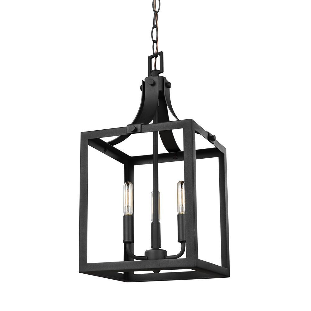 sea gull lighting labette 3light black hallfoyer pendant