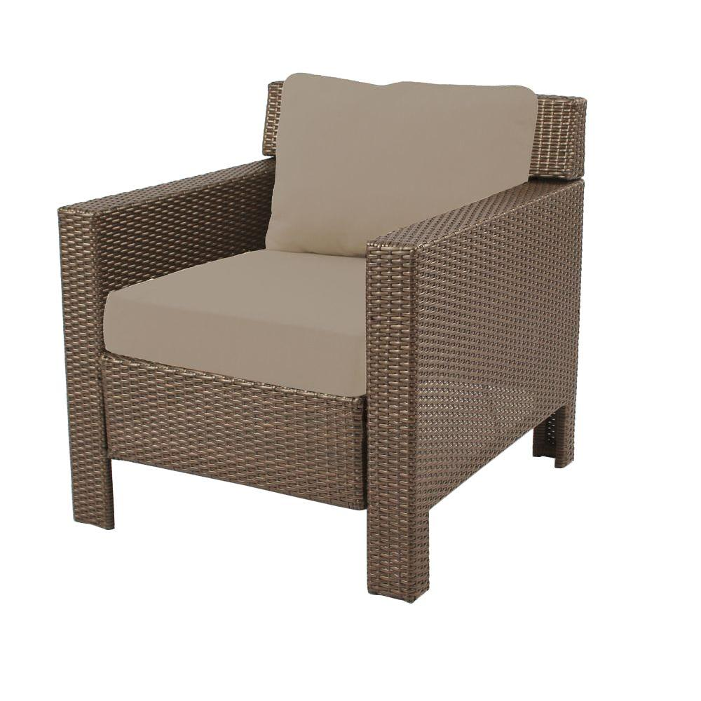 Hampton Bay Beverly Patio Deep Seating Lounge Chair With Beige Cushions Quick View Home Depot