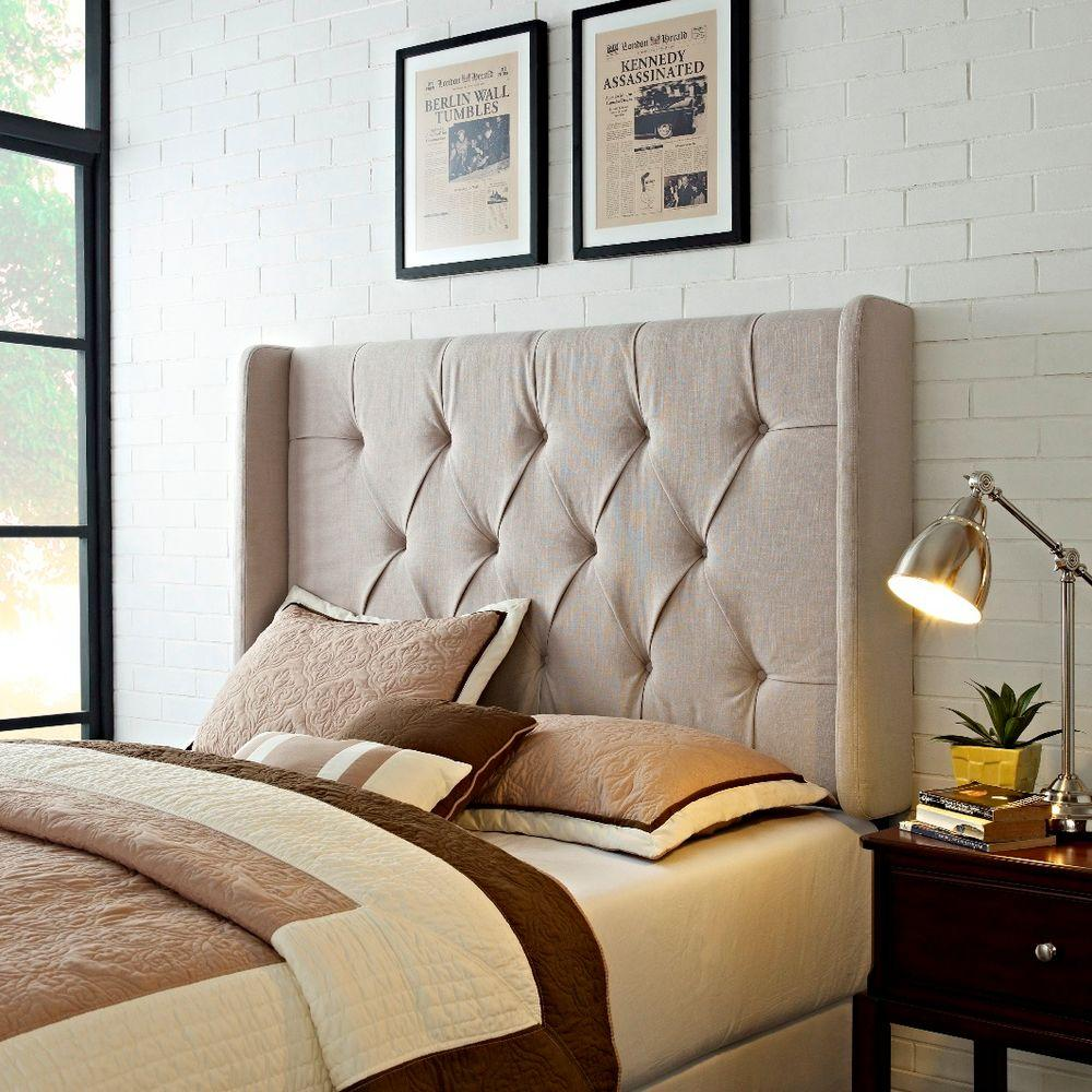 Tan Full/Queen Headboard, Tufted Upholstered Panel Headboard With Wings In  Tan