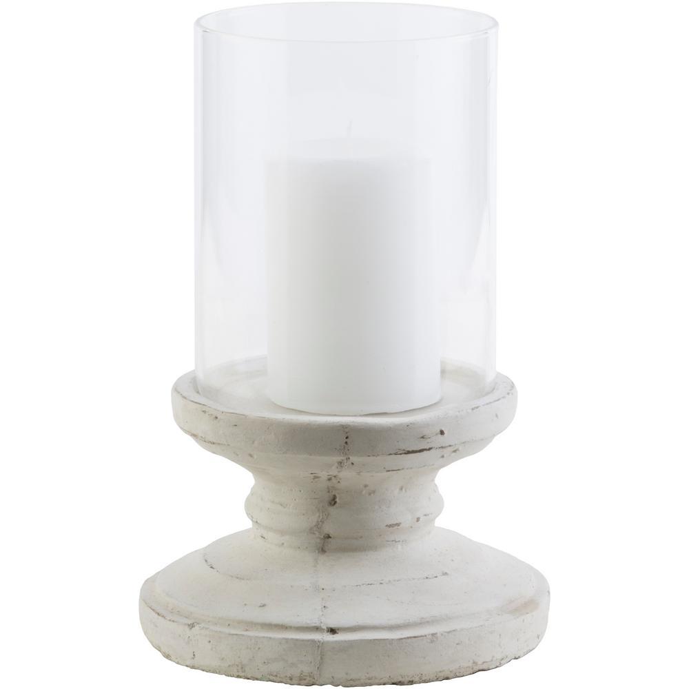 Tiberium 9.5 in. White Ceramic Candle Holder