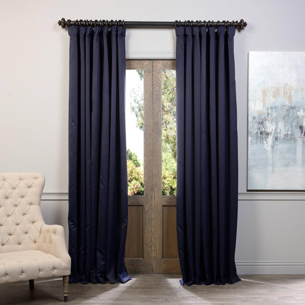 Exclusive Fabrics & Furnishings Semi-Opaque Navy Blue Doublewide Blackout Curtain - 100 in. W x 96 in. L (1 Panel)