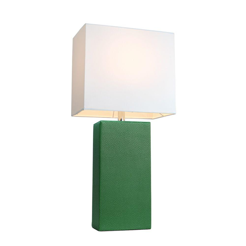 Elegant Designs Monaco Avenue 21 in. Modern Green Leather Table Lamp with White Fabric Shade