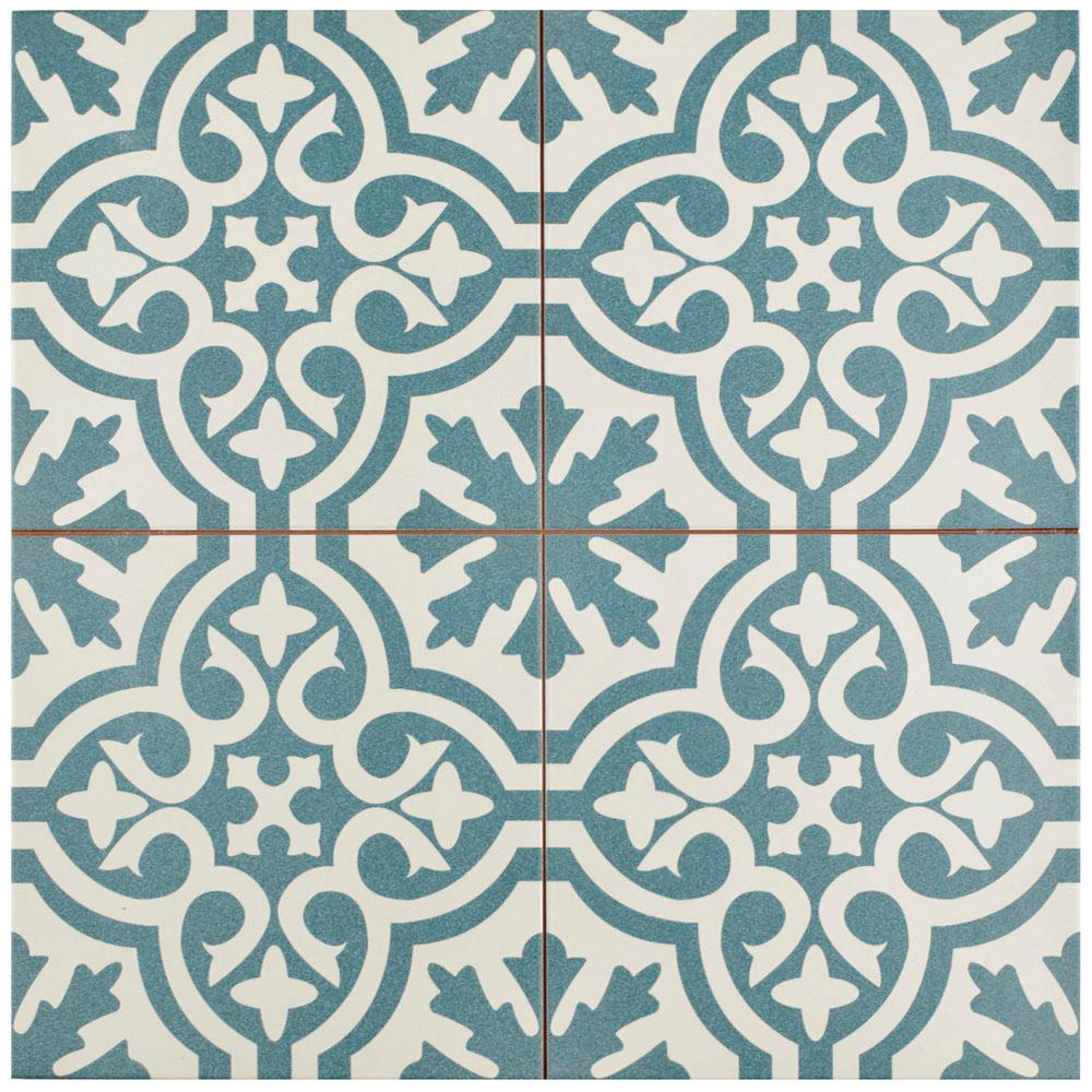 Merola Tile Berkeley Blue 17-5/8 in. x 17-5/8 in. Ceramic Floor and Wall Tile (11.1 sq. ft. / case), Blue And White/Low Sheen