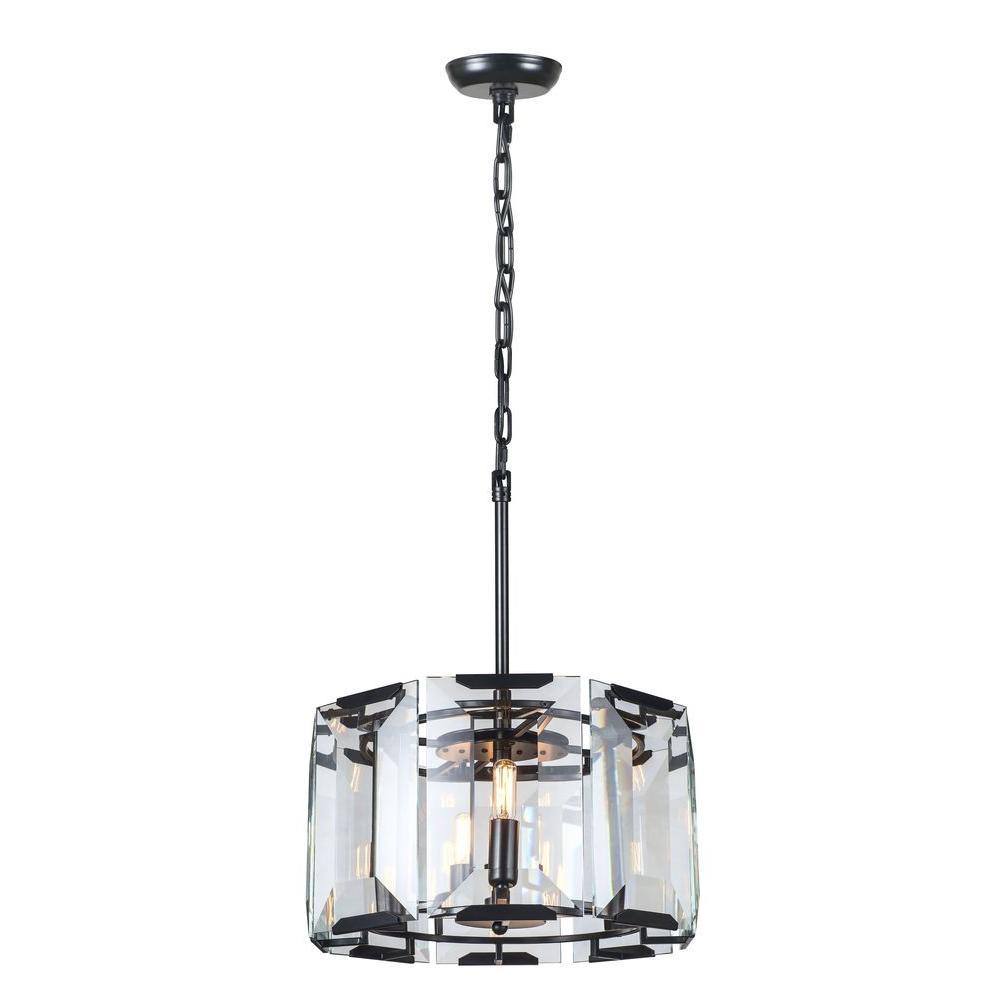 elegant lighting monaco 4light flat black matte glass crystal clear pendant