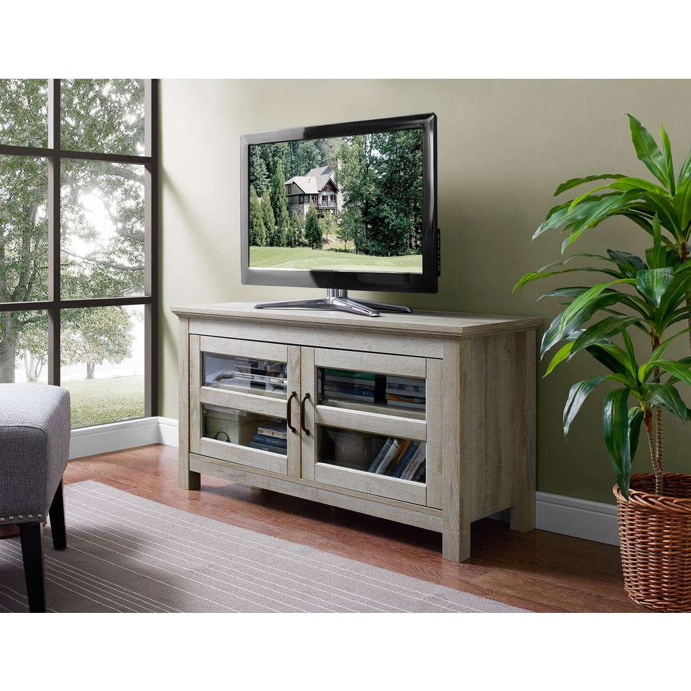 Wood TV Media Stand Storage Console - White Oak