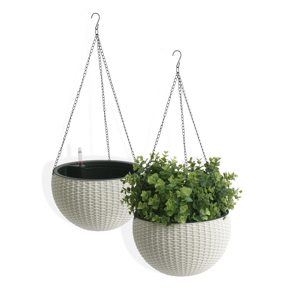 Self-Watering Wicker White Plastic Hanging Planter (2-Pack)