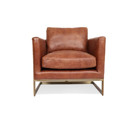 Carleen 31'' Wide Genuine Leather Top Grain Leather Lounge Chair