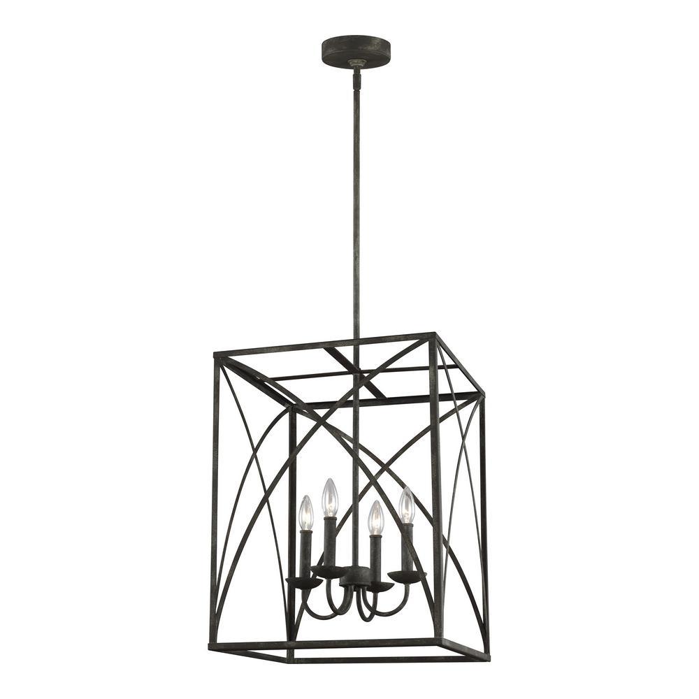 feiss greenbrier 4light iron oxide chandelier