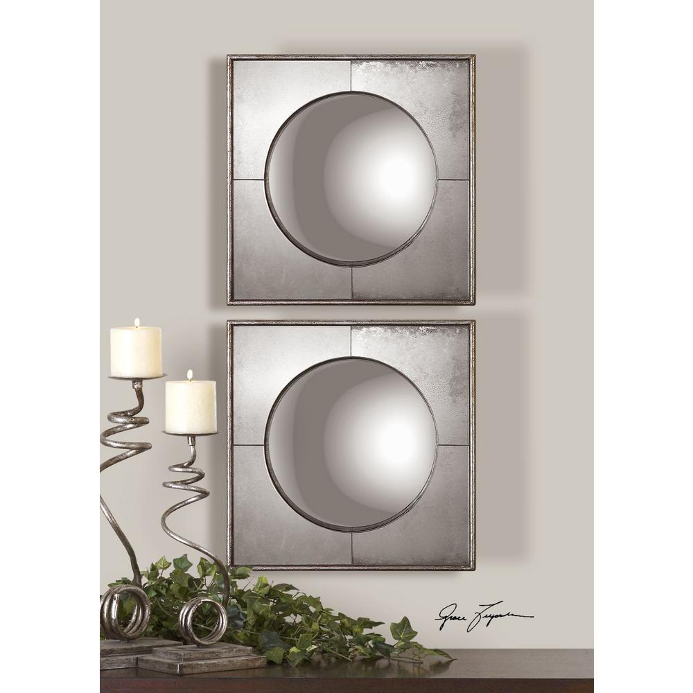 Convex Silver Framed Mirrors Set Of 2   Uttermost Mirrors Wayfair