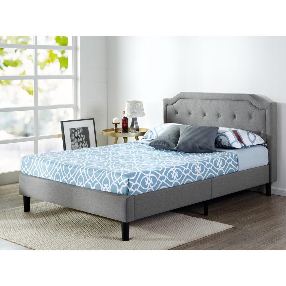 Scalloped Upholstered Dark Grey King Platform Bed Frame by Home