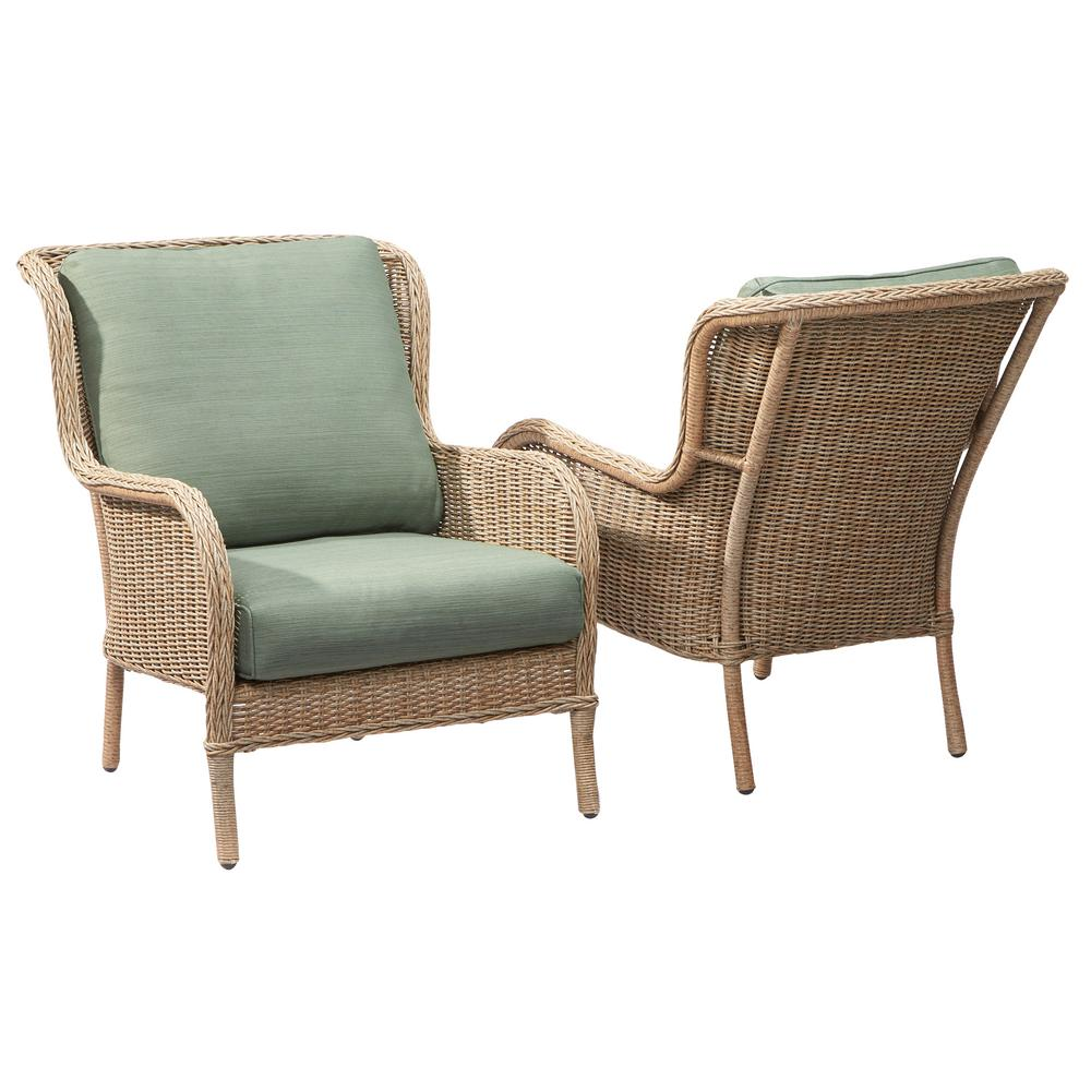 Hampton Bay Lemon Grove Stationary Wicker Outdoor Lounge Chair With Surplus Cushion 2 Pack Quick View Home Depot
