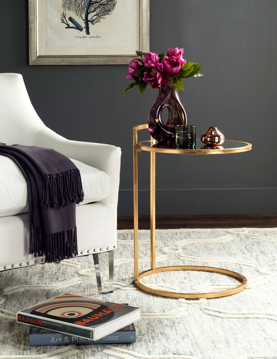 CALVIN ROUND GOLD LEAF END TABLE