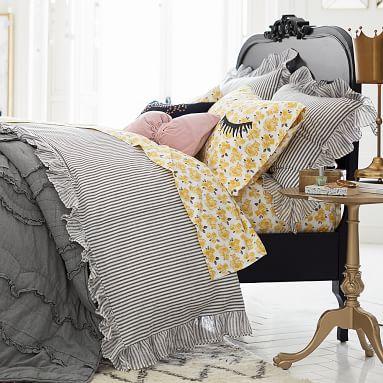 The Emily & Meritt Ruffle Stripe Duvet Cover, Full/Queen, Charcoal/Ivory