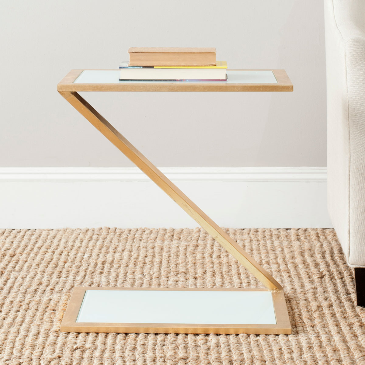 ANDREA GLASS TOP GOLD ACCENT TABLE