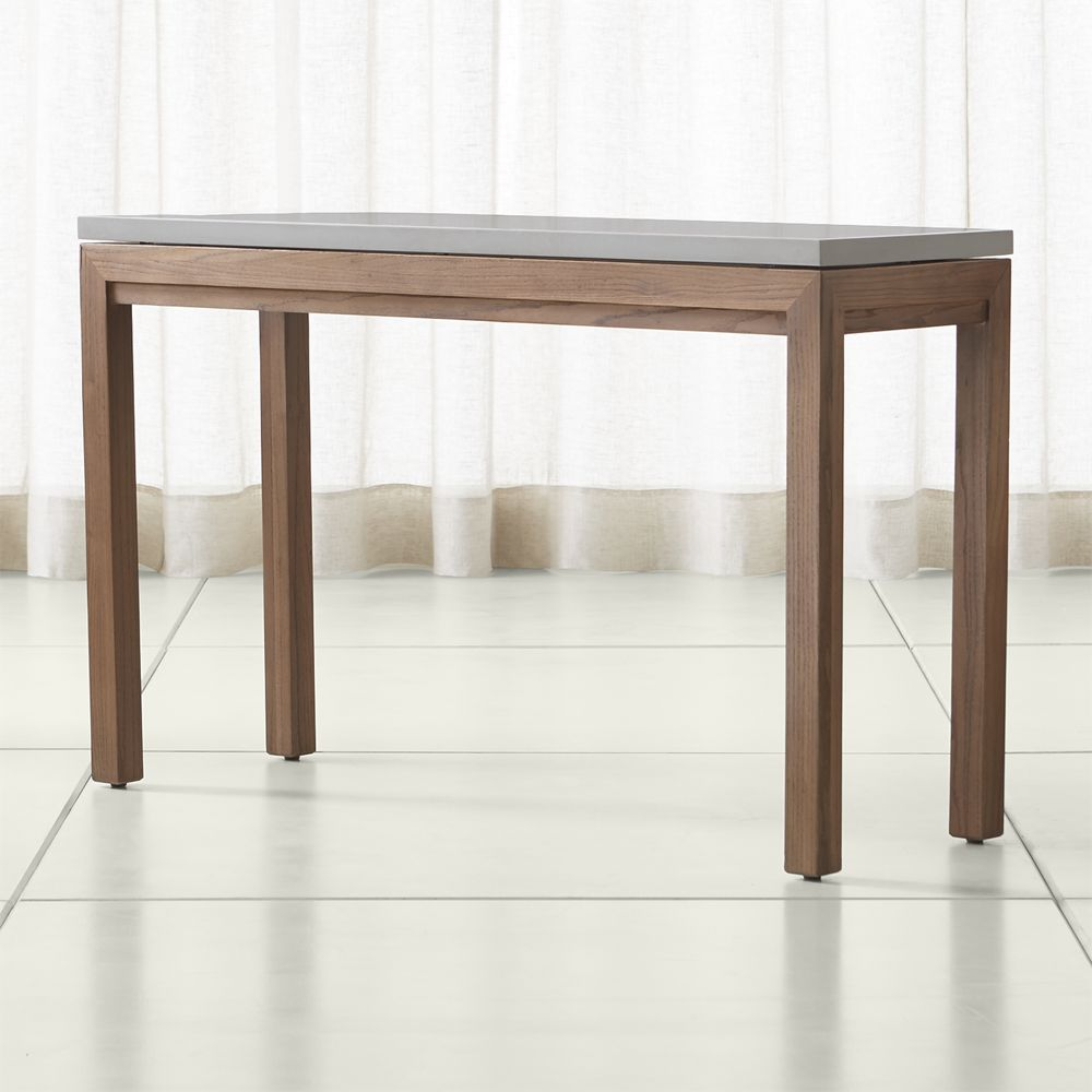 Ballard designs durham console table by ballard designs havenly parsons grey solid surface top elm base 48x16 console geotapseo Images
