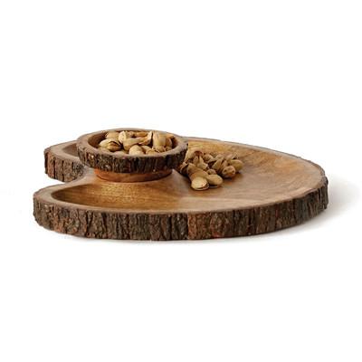 garrick 2 piece round mango wood chip u0026 dip tray set