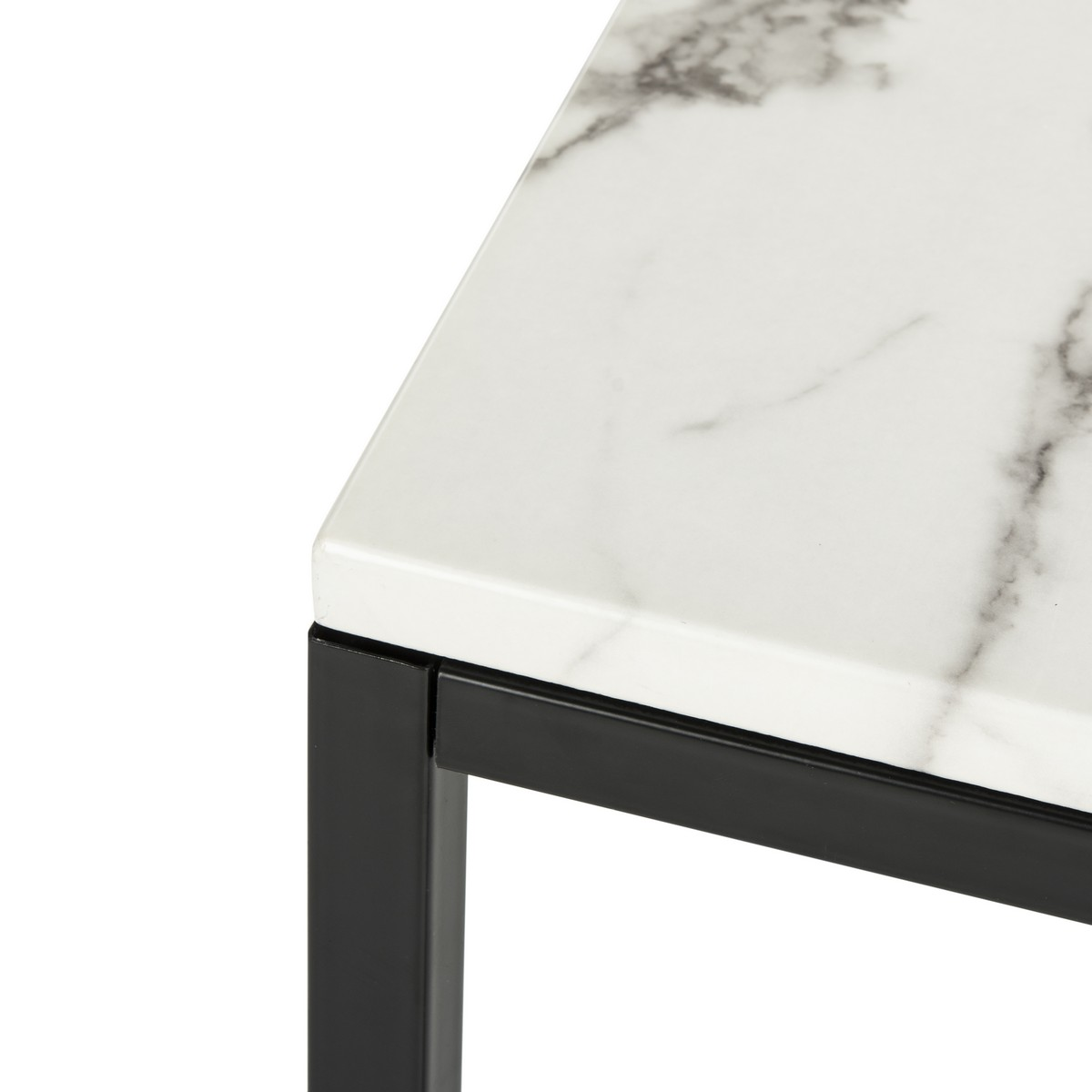 Baize Coffee Table, White & Gray Resin Marble