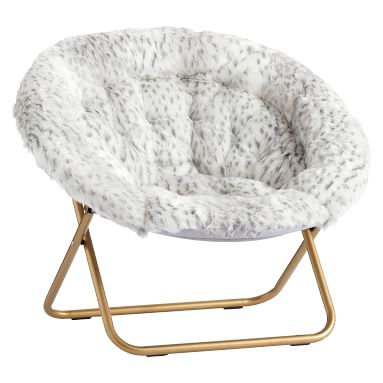 Hang-A-Round Chair, Gray Leopard Faux-Fur w/ Gold Base