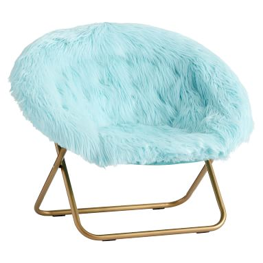 Hang-A-Round Chair, Himalayan Plume Faux-Fur w/ Gold Base
