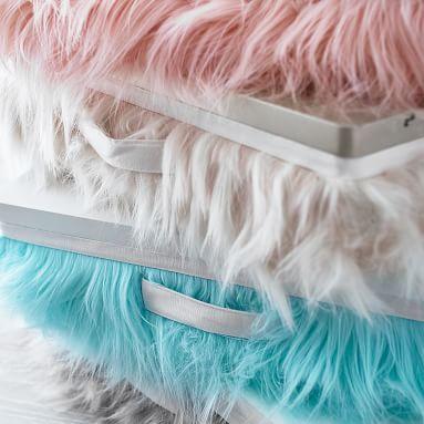 Faux-Fur Superstorage Lapdesk, Blush/White