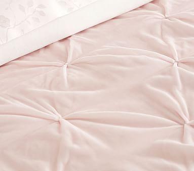 Monique Lhuillier Velvet Pintuck Quilt, Full/queen, Blush