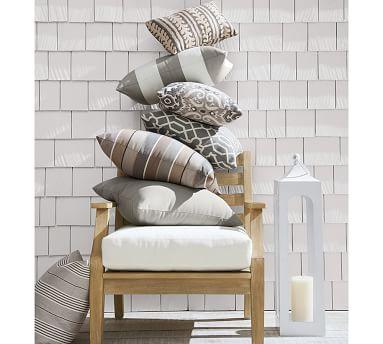 "Sunbrella(R) Saratoga Indoor/Outdoor Pillow, 12 X 18"", Gray"