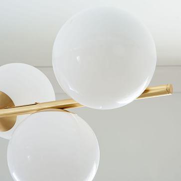 Sphere + Stem 7-Light Chandelier, Brass/Milk
