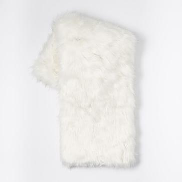 "Faux Fur Brushed Tips Throw, 47""x60"", Stone White"