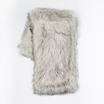 Faux Fur Brushed Tips Throw 47 X60 Platinum West Elm