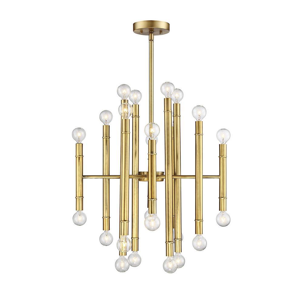 Filament Design 24-Light Natural Brass Chandelier