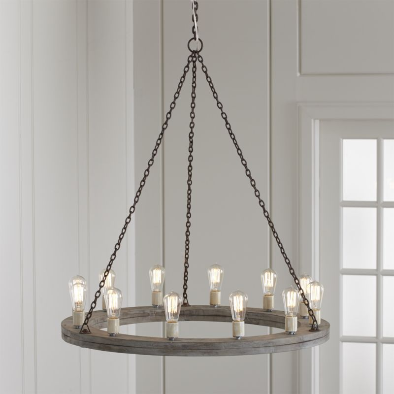 "Geoffrey 36"" Round Wood Chandelier"