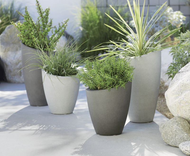 Slant Light Grey Tall Planter