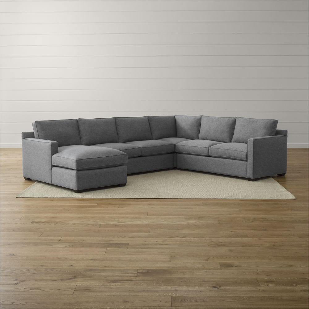 Elliot Fabric Microfiber 3 piece Chaise Sectional Sofa by Macys