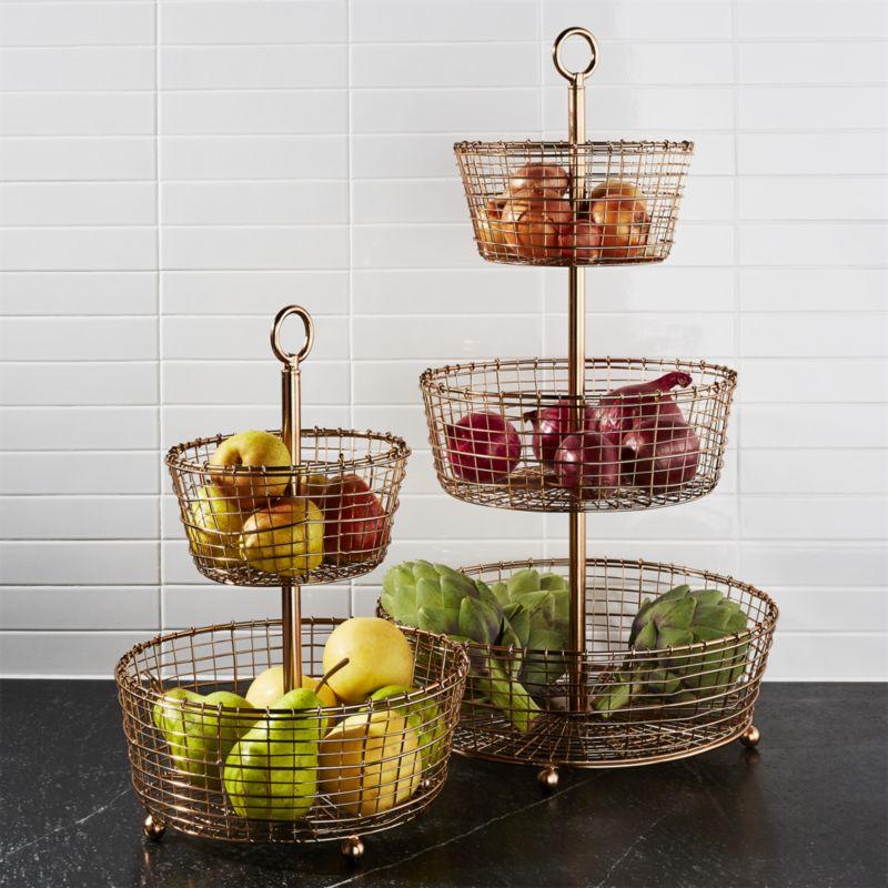 Bendt 2-Tier Copper Fruit Basket