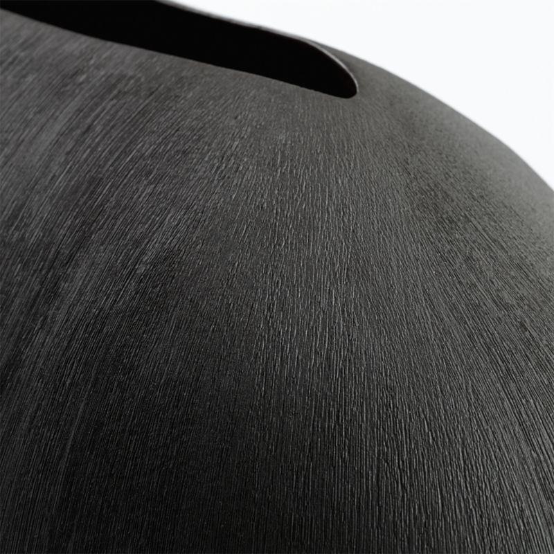 Alura Short Dark Grey Oval Ceramic Vase