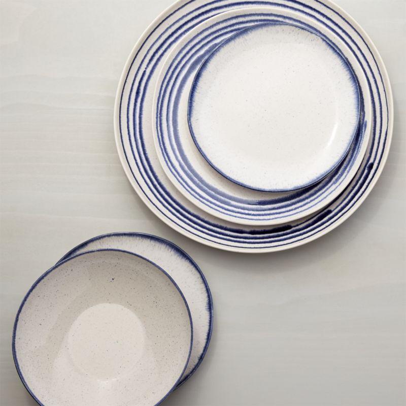 Lina Blue Stripe 16-Piece Place Setting