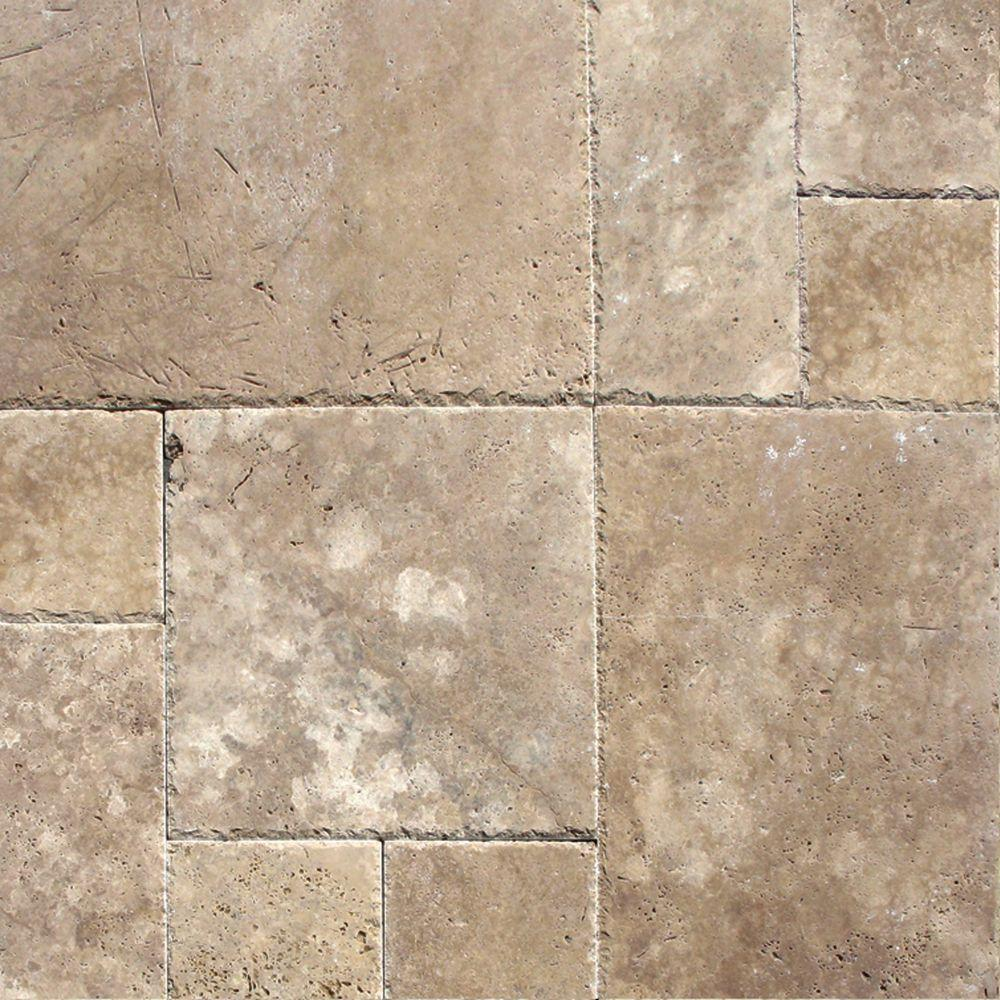 MSI Mediterranean Walnut Pattern Honed-Unfilled-Chipped Travertine Floor and Wall Tile (5 Kits / 80 sq. ft. / pallet), Tan