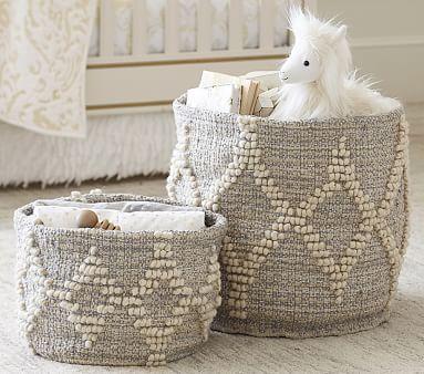 Winter Bohemian Wool Basket, Small, White & Silver Metallic