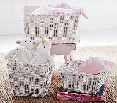Sabrina Basket, Medium, Simply White, Set of 2 Baskets