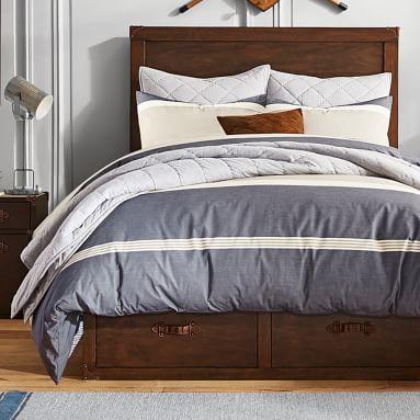 Beachstone Stripe Duvet Cover, Full/Queen, Gray Multi