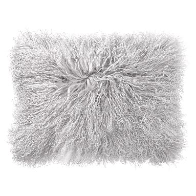 mongolian fur pillow covers 12 x 16 light gray